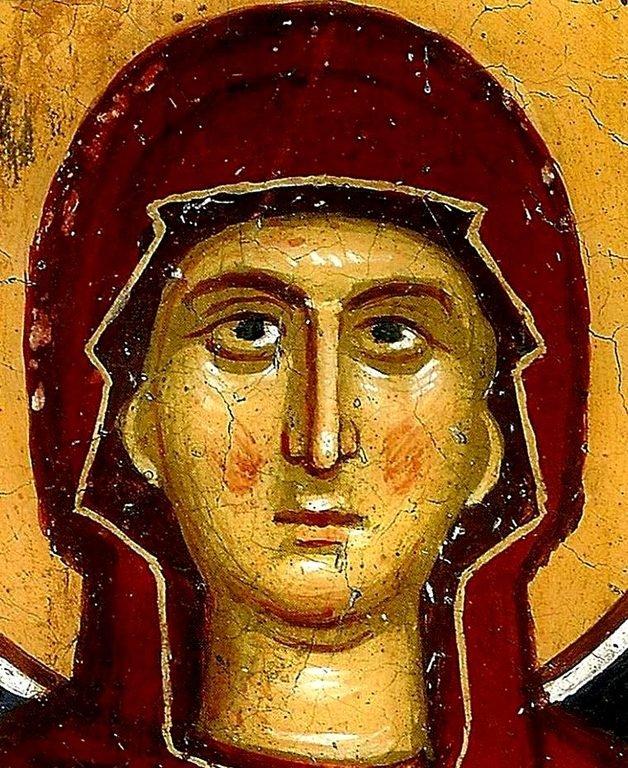 Святая Мученица Иулитта. Фреска монастыря Сретения Господня в Метеорах, Греция. 1366 - 1367 годы.