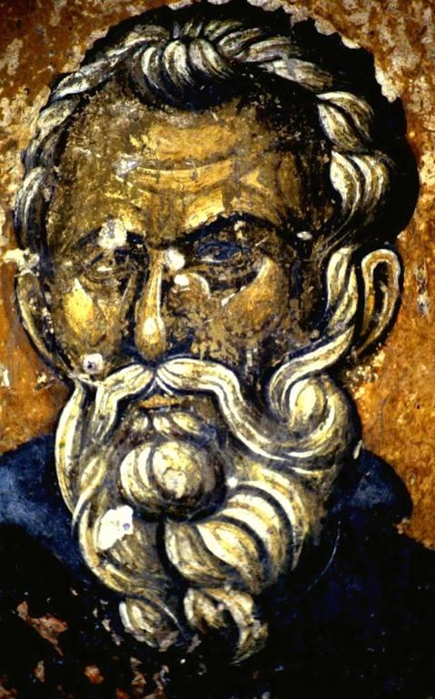 Святой Преподобный Памва пустынник, Нитрийский. Фреска церкви Святого Георгия Грамматику в Верии, Греция. Около 1380 года.