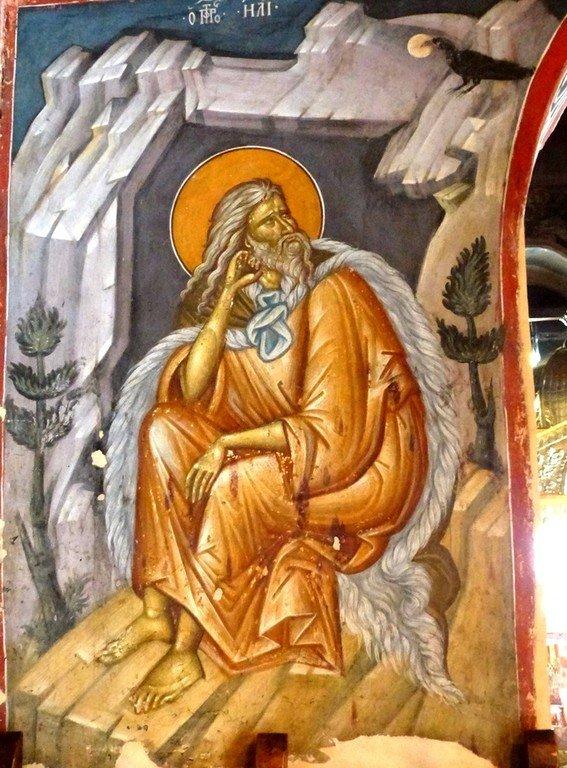 Святой Пророк Божий Илия в пустыне. Фреска монастыря Святого Иоанна Предтечи близ Серр, Греция. XIV век.