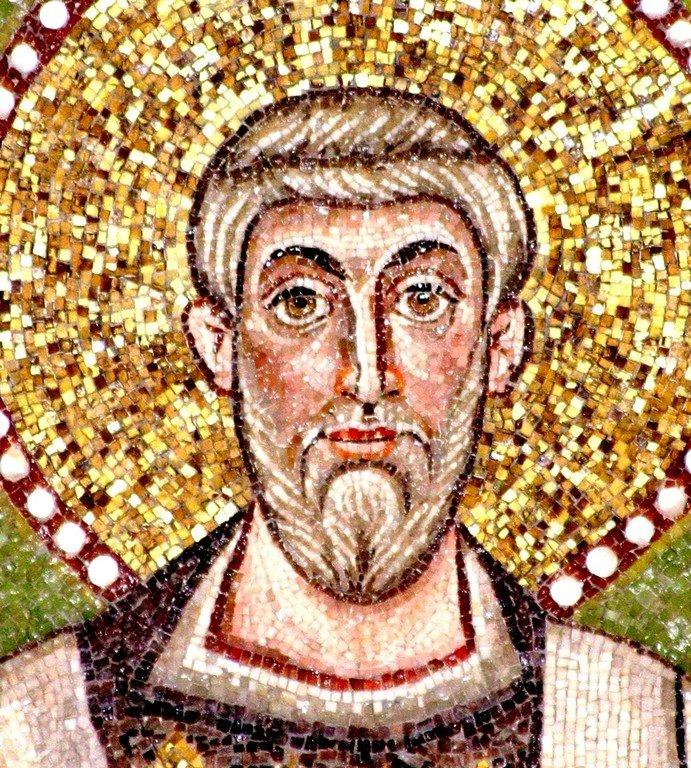 Священномученик Аполлинарий, Епископ Равеннийский. Византийская мозаика VI века в церкви Сант-Аполлинаре-ин-Классе в Равенне, Италия.