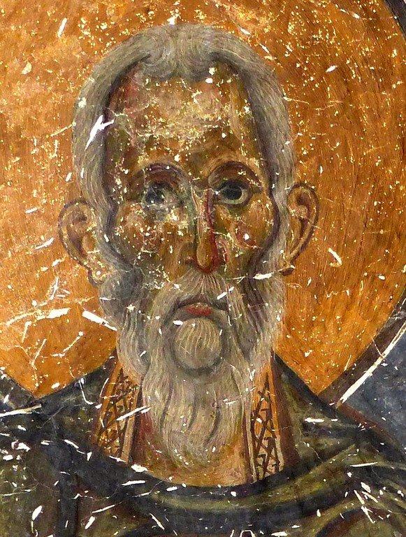 Священномученик Ермолай, иерей Никомидийский. Фреска церкви Святых Врачей в Кастории, Греция. XII век.