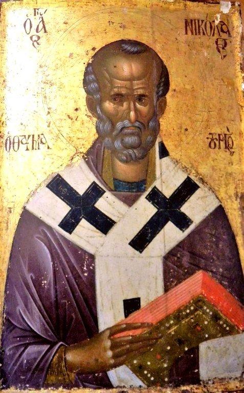 Святитель Николай, Архиепископ Мир Ликийских, Чудотворец. Византийская икона. Великая Лавра Святого Афанасия на Афоне.