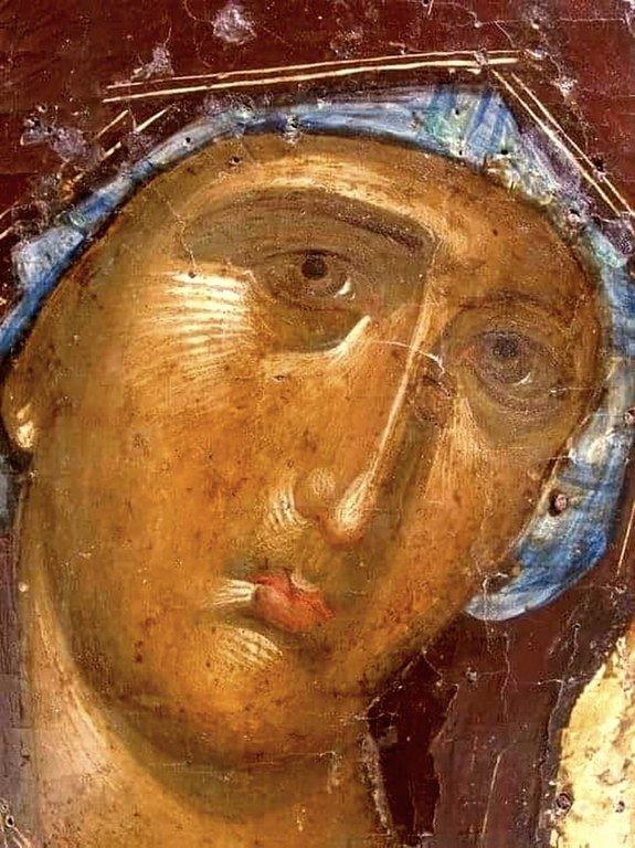 Лик Пресвятой Богородицы. Фрагмент византийской иконы. Остров Закинф, Греция.