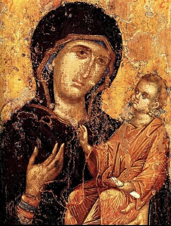 Богоматерь Одигитрия. Византийская икона. Фрагмент.