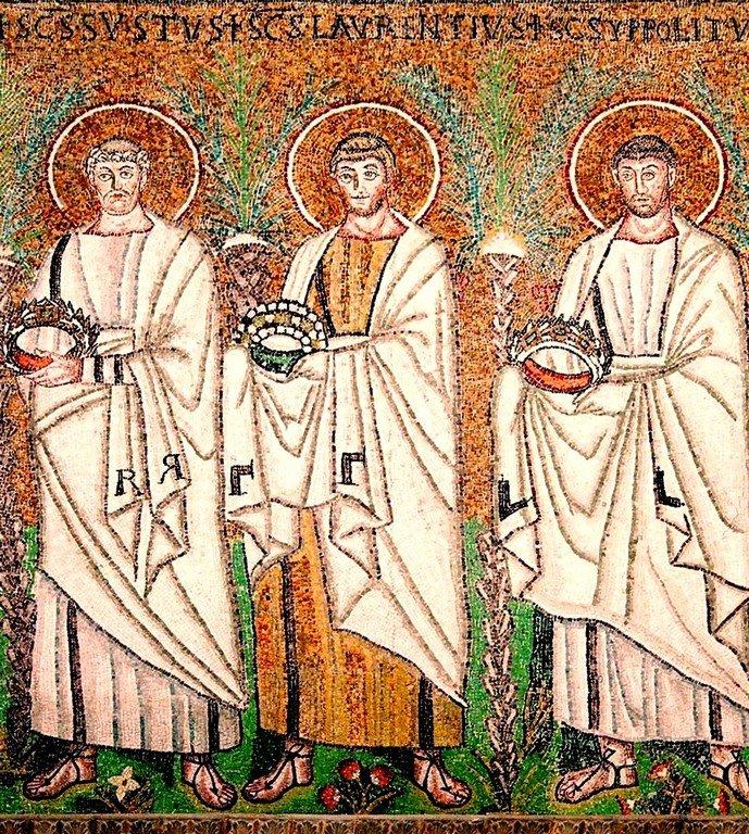 Святые Мученики Сикст, Папа Римский, Архидиакон Лаврентий и Ипполит Римский. Византийская мозаика VI века. Равенна, Италия.