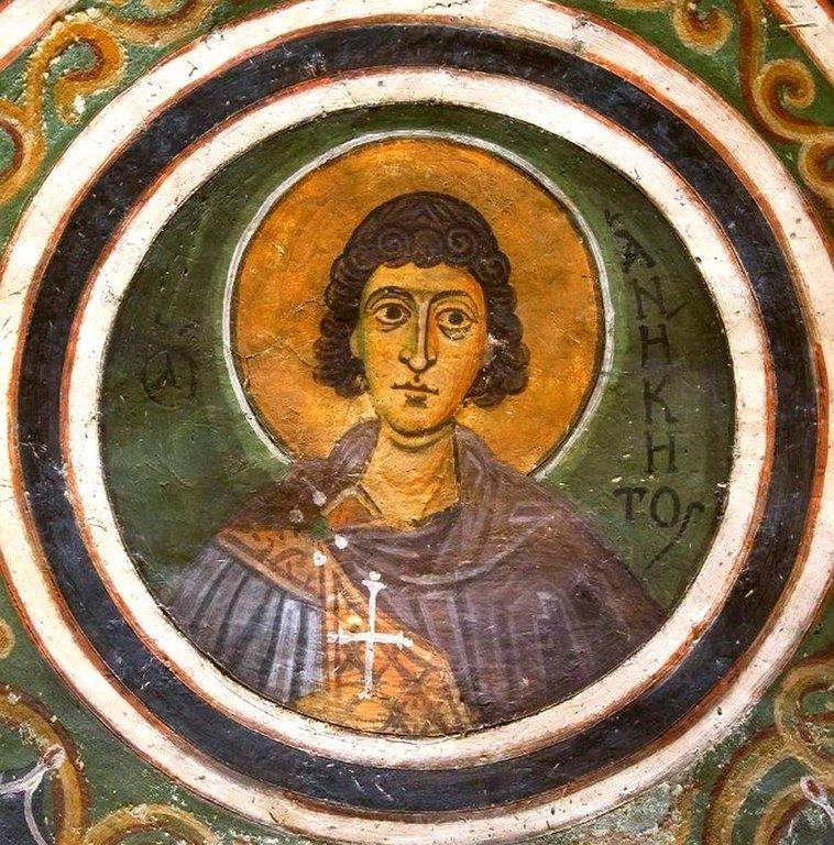 Святой Мученик Аникита Никомидийский. Фреска монастыря Осиос Лукас, Греция. 1030 - 1040-е годы.