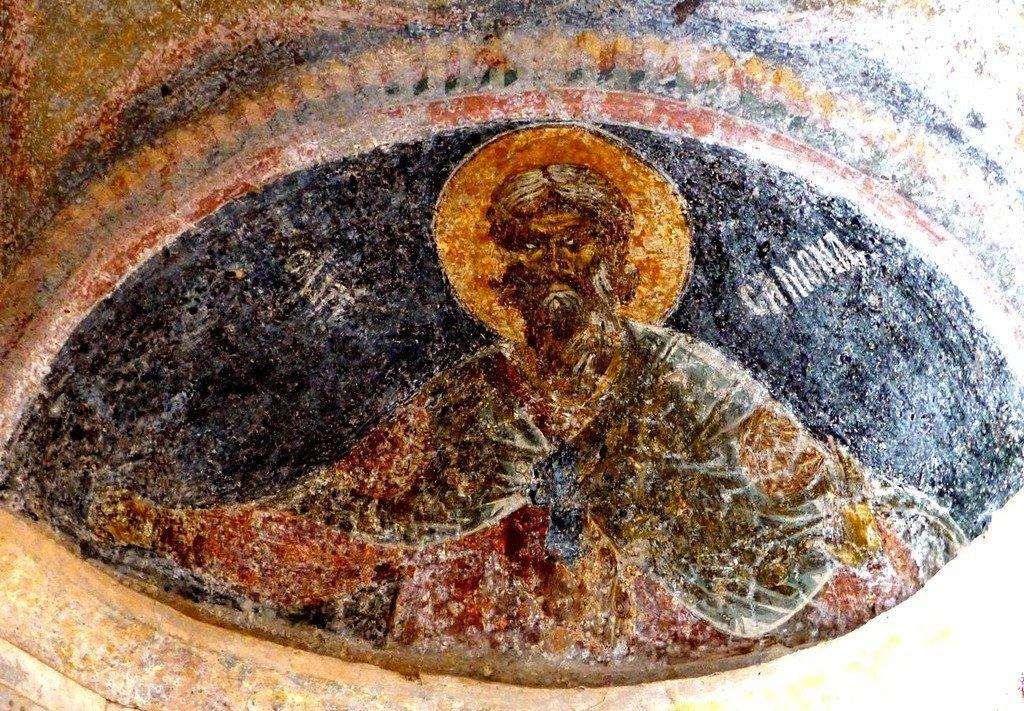 Святой Пророк Самуил. Византийская фреска в церкви Богоматери Одигитрии в Мистре, Греция.