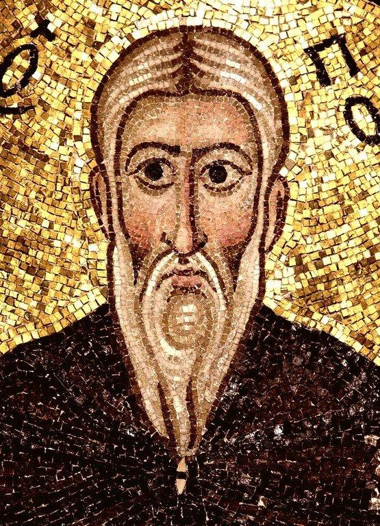 Святой Преподобный Пимен Великий. Мозаика монастыря Осиос Лукас, Греция. 1030 - 1040-е годы.