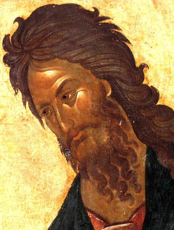 Святой Иоанн Предтеча. Икона. Византия, 1360-е годы. Сербский монастырь Хиландар на Афоне. Фрагмент.