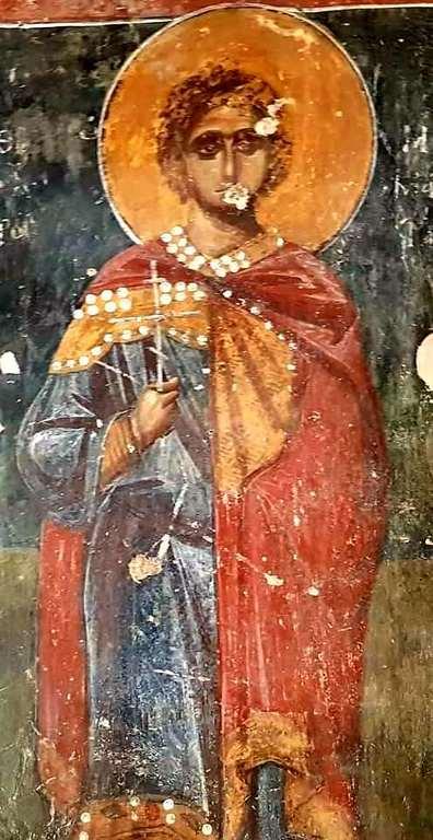 Святой Мученик Мамант Кесарийский. Фреска монастыря Панагии Гуверниотиссы на Крите. Вторая половина XIV века.