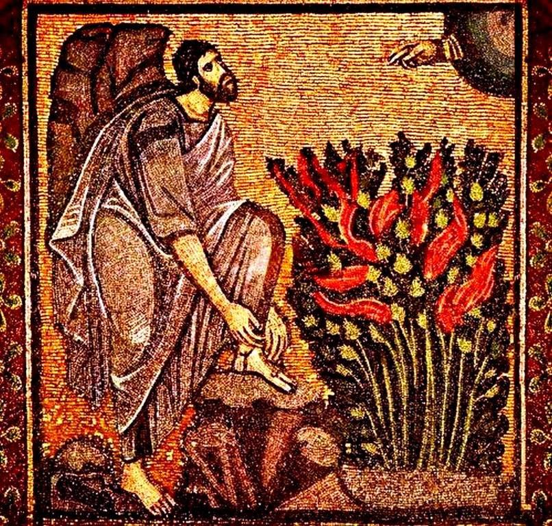 Святой Пророк Моисей Боговидец перед Неопалимой купиной. Мозаика монастыря Святой Екатерины на Синае. VI век.