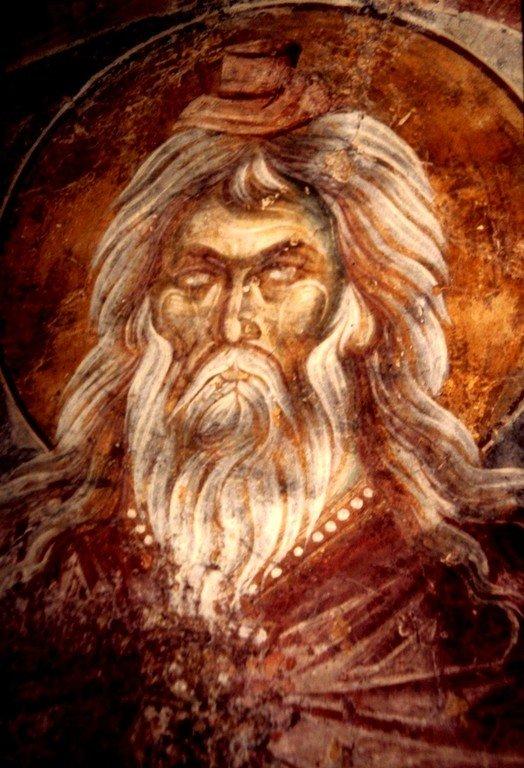 Святой Пророк Захария, отец Святого Иоанна Предтечи. Византийская фреска в монастыре Вронтохион, Мистра, Греция.