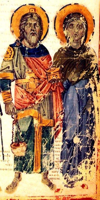 Святые Пророк Захария и Праведная Елисавета, родители Святого Иоанна Предтечи. Византийская миниатюра.
