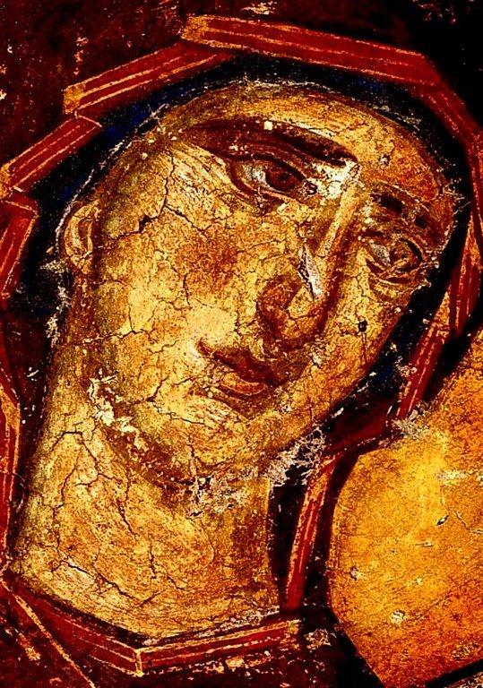Лик Пресвятой Богородицы. Фреска монастыря Панагии Олимпиотиссы в Элассоне, Греция. Конец XIII века.