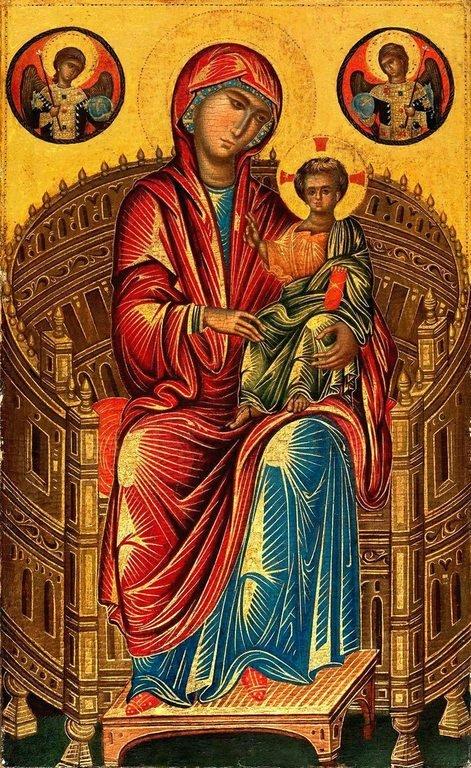Пресвятая Богородица с Младенцем на троне. Икона. Византия или Сицилия, вторая половина XIII века.