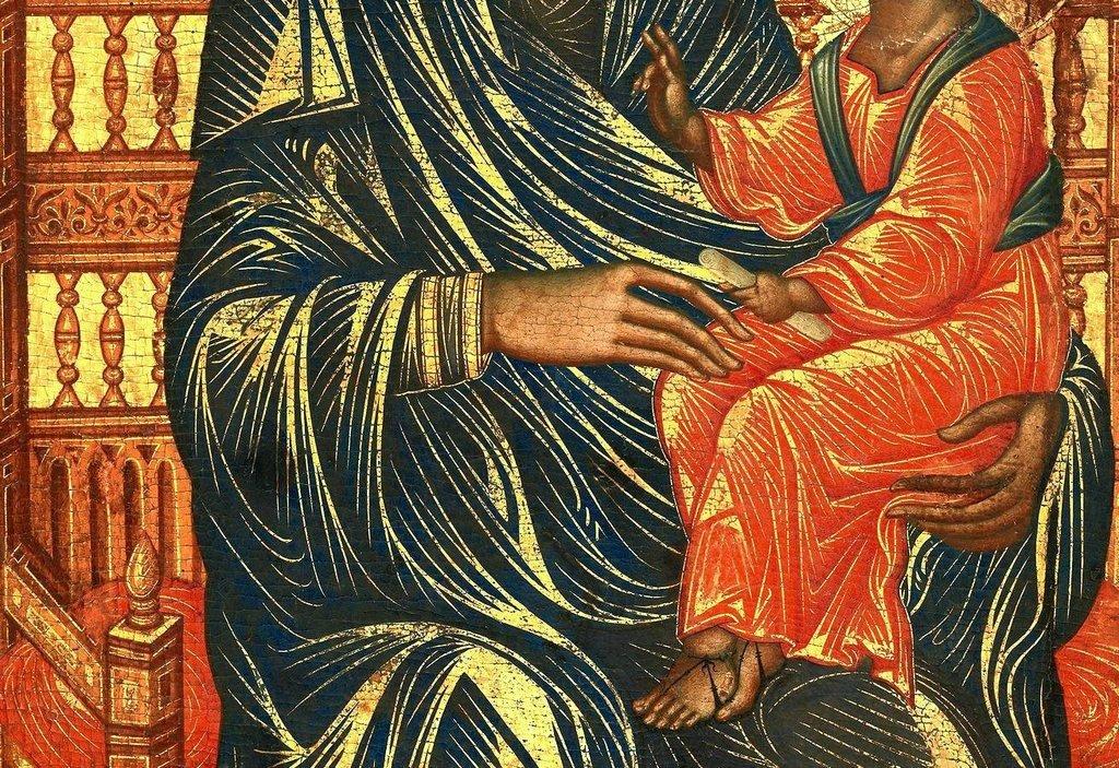 Пресвятая Богородица с Младенцем на троне. Икона. Византия или Сицилия, вторая половина XIII века. Фрагмент.