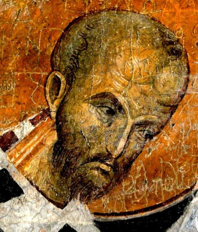 Святитель Иоанн Златоуст. Фреска Бачковского монастыря, Болгария. XI век.