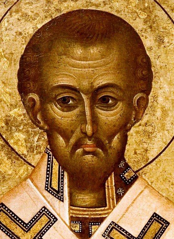 Святитель Иоанн Златоуст. Византийская икона XV века. Лик Святого.
