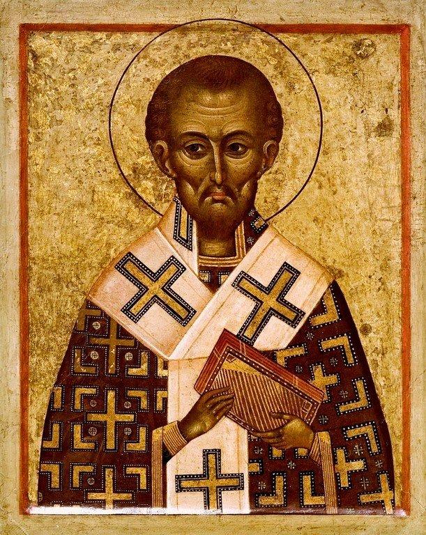 Святитель Иоанн Златоуст. Византийская икона XV века.