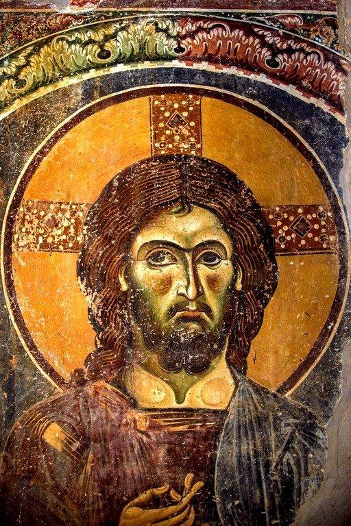 Христос Ирини (Мир). Фреска церкви Святого Георгия в Курбиново, Македония. 1191 год.