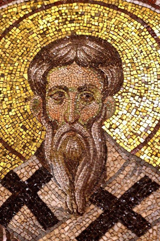 Священномученик Григорий, Просветитель Армении. Мозаика церкви Богородицы Паммакаристы в Константинополе. XIV век.