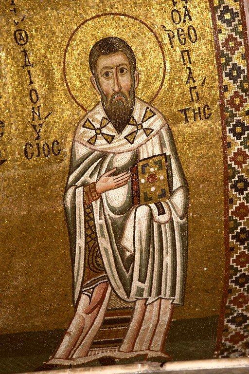 Священномученик Дионисий Ареопагит. Мозаика монастыря Осиос Лукас, Греция. 1030 - 1040-е годы.