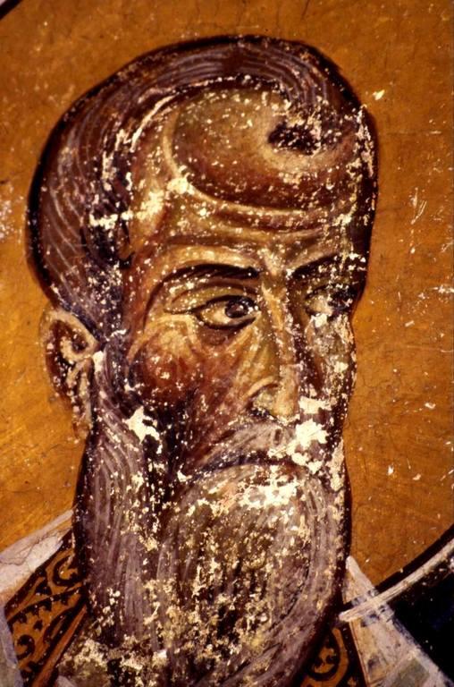 Священномученик Дионисий Ареопагит. Фреска монастыря Святого Иоанна Богослова на острове Патмос, Греция. XII век.