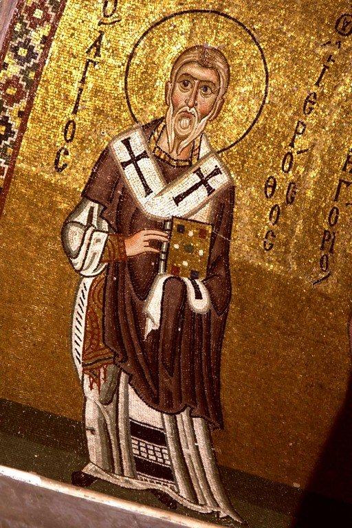 Священномученик Иерофей, Епископ Афинский. Мозаика монастыря Осиос Лукас, Греция. 1030 - 1040-е годы.
