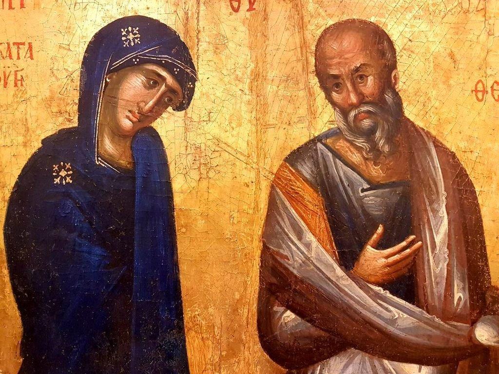 Пресвятая Богородица и Святой Апостол и Евангелист Иоанн Богослов. Икона из монастыря Святого Иоанна Богослово в Поганово (Сербия). Византия, около 1395 года. Фрагмент.