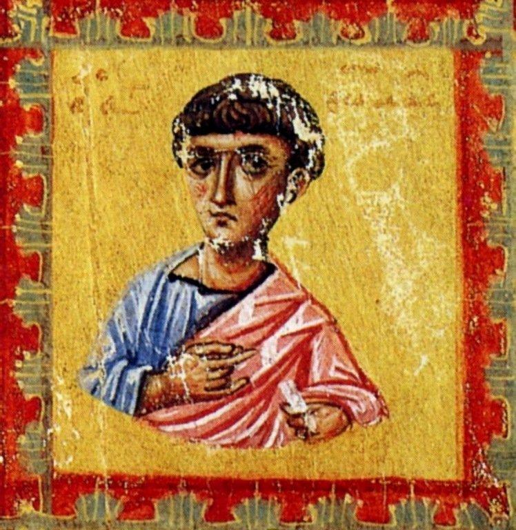 Святой Апостол Фома. Фрагмент миниатюры Евангелия. Византия, 1133 год.