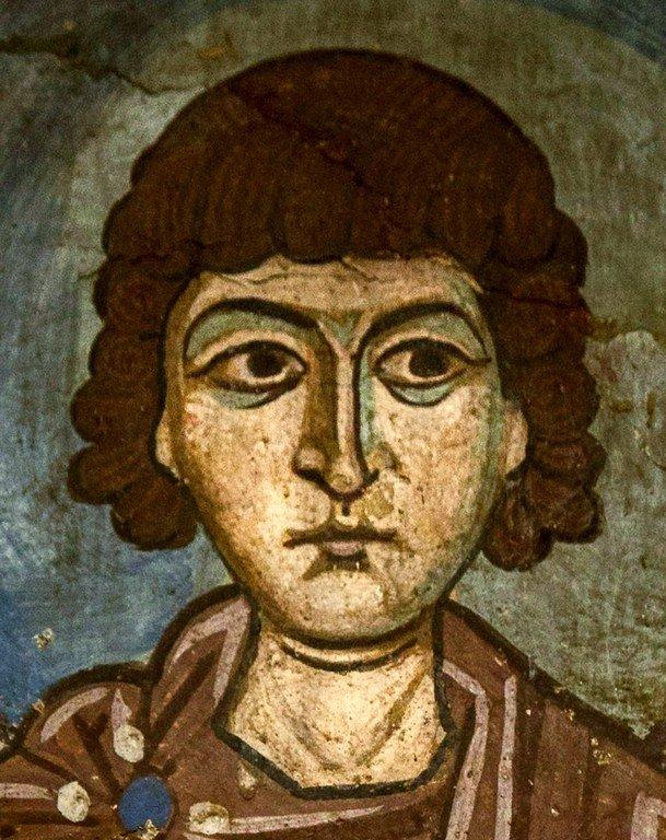 Святой Мученик Вакх Римлянин. Фреска монастыря Осиос Лукас, Греция. 1030 - 1040-е годы.