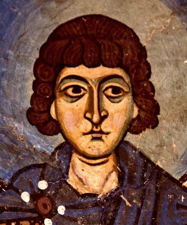 Святой Мученик Сергий Римлянин. Фреска монастыря Осиос Лукас, Греция. 1030 - 1040-е годы.