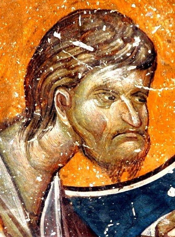 Святой Апостол и Евангелист Лука. Фреска церкви Святого Николая Орфаноса в Салониках, Греция. 1310 - 1315 годы.