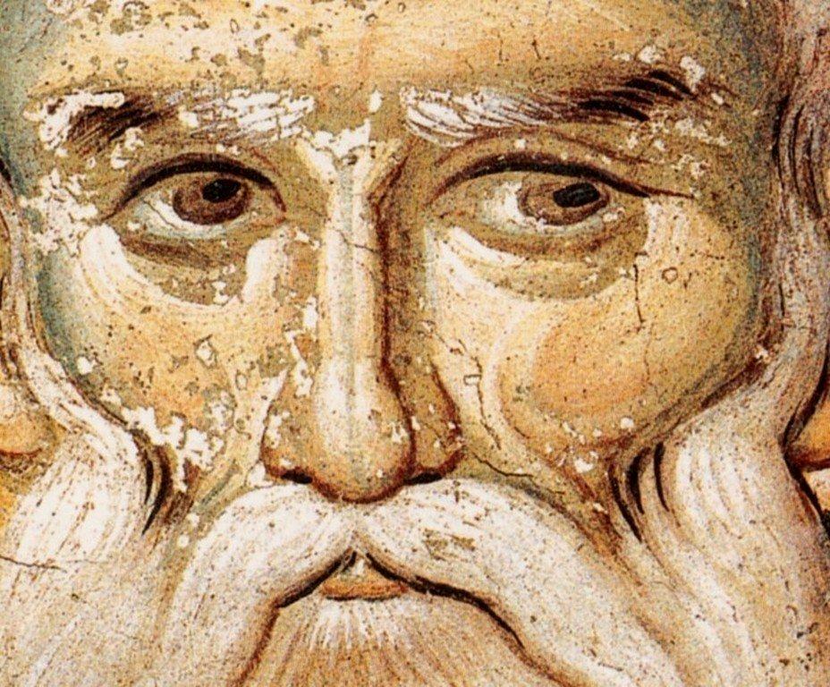 Святой Апостол Иаков, брат Господень. Фреска храма Протатон (Протат) на Афоне. Конец XIII века. Иконописец Мануил Панселин.