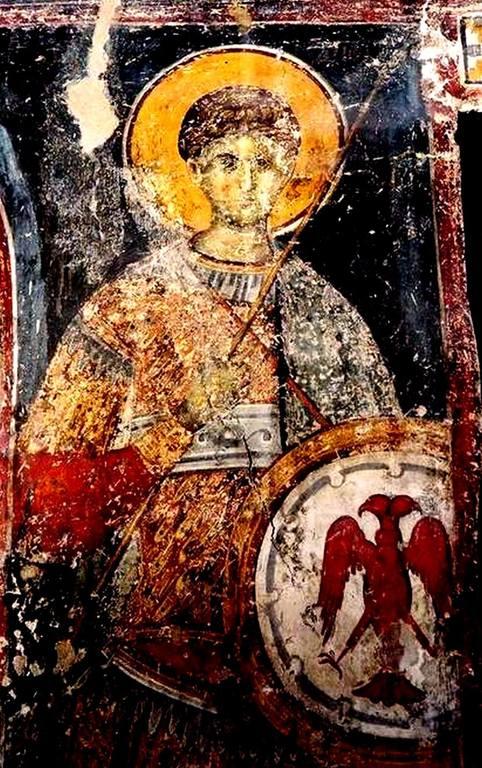 Святой Великомученик Димитрий Солунский. Фреска церкви Воскресения Христова в Верии, Греция. 1315 год. Иконописец Георгий Каллиергис.