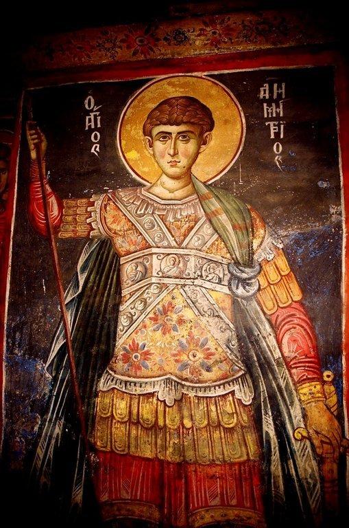 Святой Великомученик Димитрий Солунский. Фреска монастыря Ватопед на Афоне.
