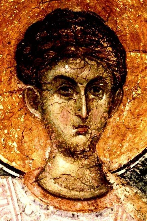 Святой Великомученик Димитрий Солунский. Фреска сербского монастыря Хиландар на Афоне. Около 1320 года.