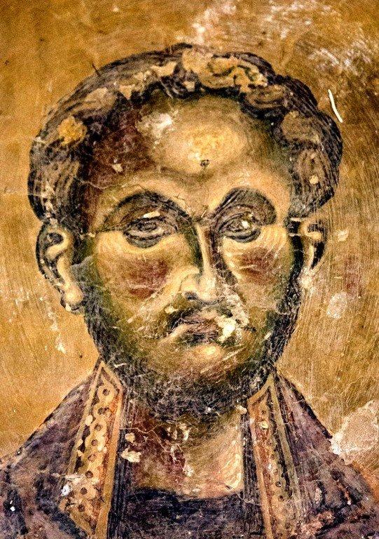 Святой Бессребреник Косма (?). Фреска церкви Святого Георгия в Курбиново, Македония. 1191 год.