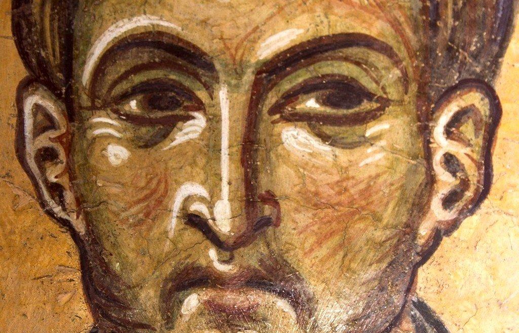 Святой Бессребреник Дамиан. Фреска церкви Святого Пантелеимона в Нерези, Македония. 1164 год.