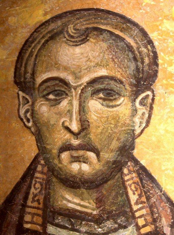 Святой Бессребреник Косма. Фреска церкви Святого Пантелеимона в Нерези, Македония. 1164 год.