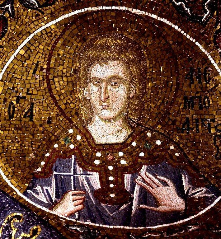 Святой Мученик Анемподист Персидский. Мозаика монастыря Хора в Константинополе. 1315 - 1321 годы.