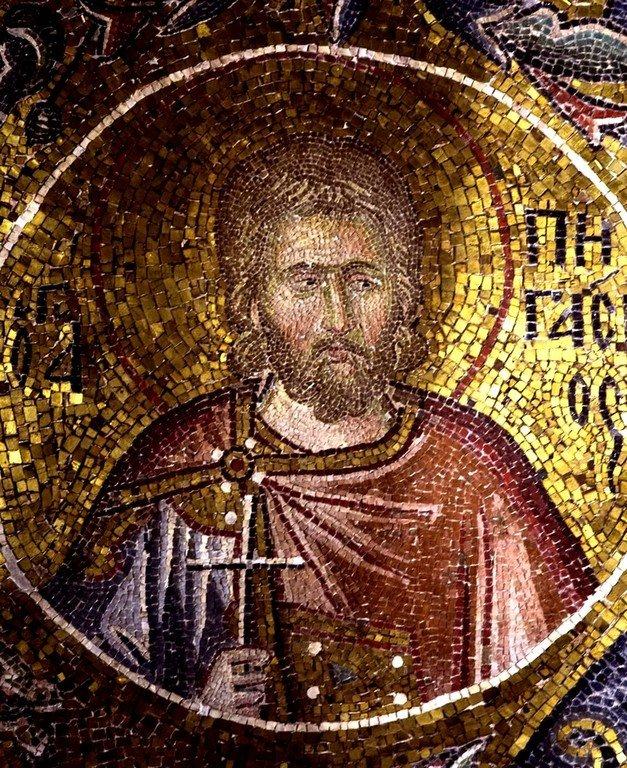 Святой Мученик Пигасий Персидский. Мозаика монастыря Хора в Константинополе. 1315 - 1321 годы.