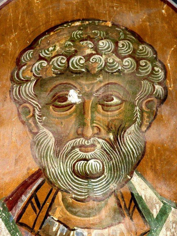 Святитель Димитриан, Епископ Хитрский. Фреска церкви Христа Антифонитиса на Кипре. XII век.