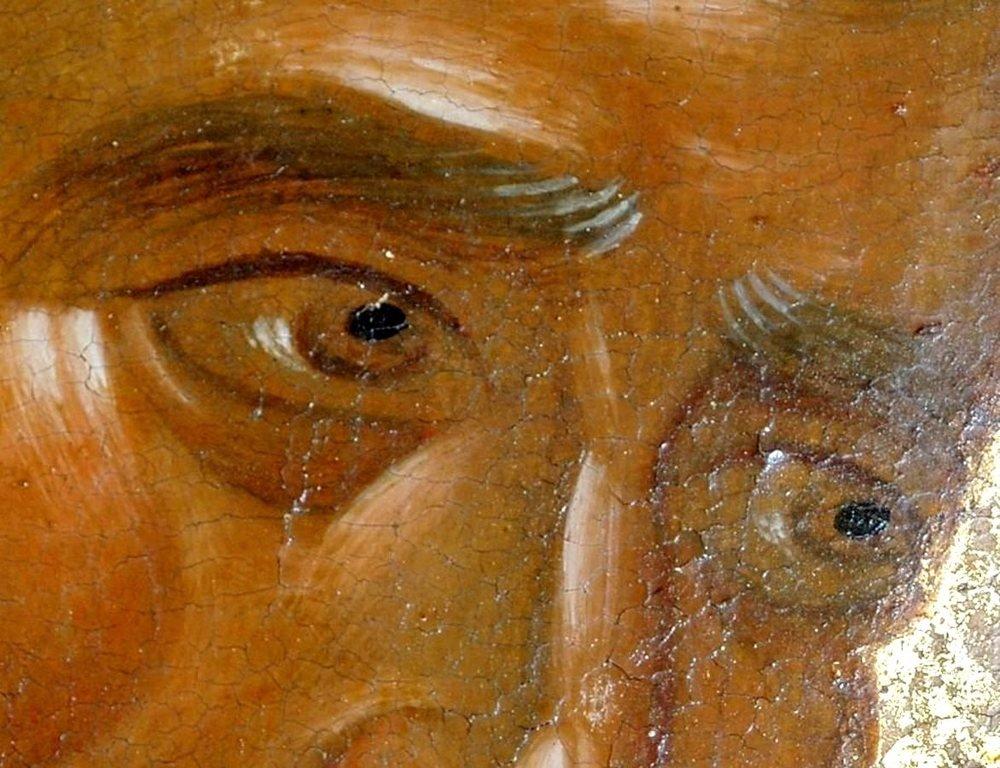 Святой Апостол и Евангелист Матфей. Икона. Византия, 1360-е годы. Сербский монастырь Хиландар на Афоне. Фрагмент.