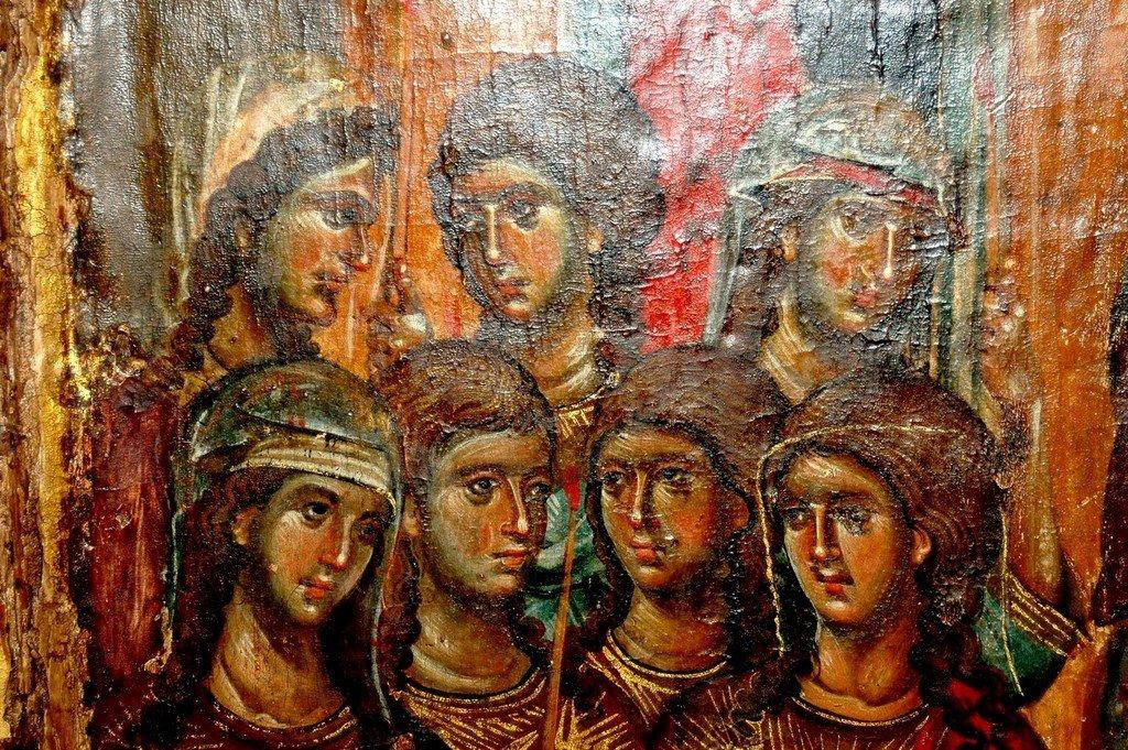 Введение во храм Пресвятой Богородицы. Икона. Византия, 1320 год. Сербский монастырь Хиландар на Афоне. Фрагмент.