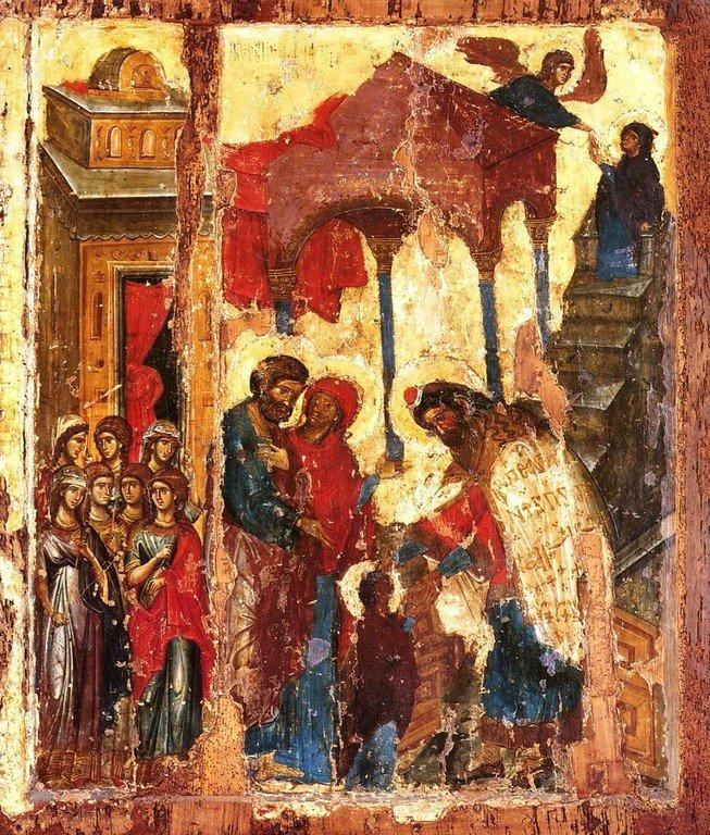 Введение во храм Пресвятой Богородицы. Икона. Византия, 1320 год. Сербский монастырь Хиландар на Афоне.
