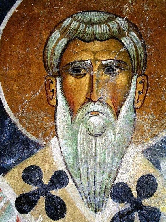 """Святитель Григорий, Епископ Акрагантийский. Византийская фреска в церкви Святого Николая """"тис стегис"""" (""""под крышей"""") на Кипре."""