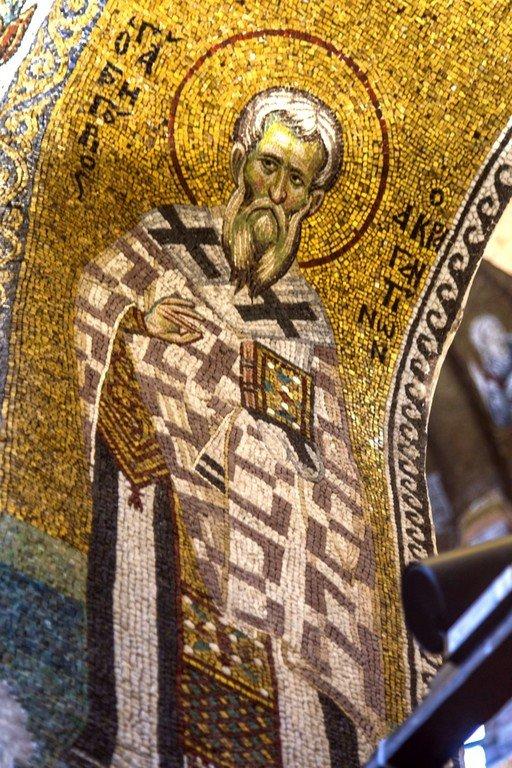 Святитель Григорий, Епископ Акрагантийский. Мозаика церкви Богородицы Паммакаристос (Всеблаженной) в Константинополе. XIV век.