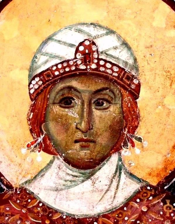 Святая Великомученица Варвара. Фреска церкви Старая Митрополия в Верии, Греция. XIII век.