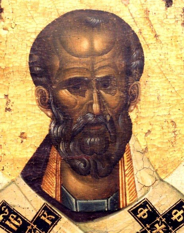 Святитель Николай Чудотворец. Византийская икона. Монастырь Кутлумуш на Афоне. Лик.